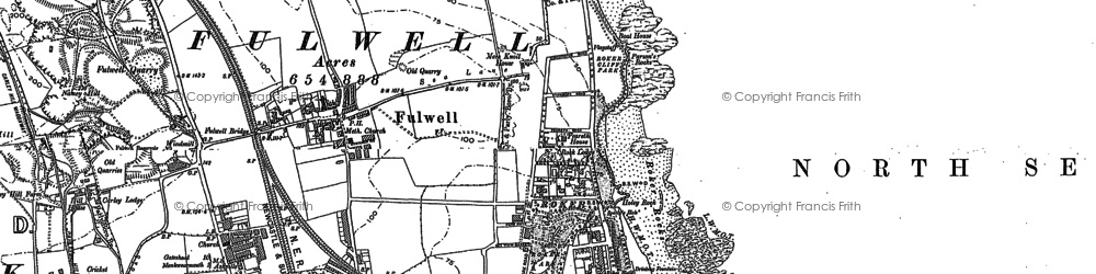 Old map of Whitburn Bay in 1896