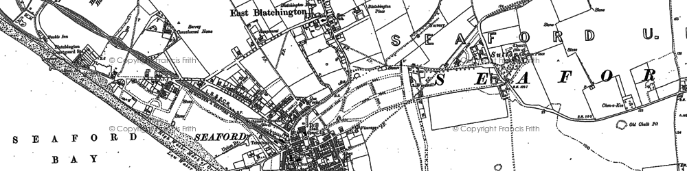 Old map of Seaford in 1908
