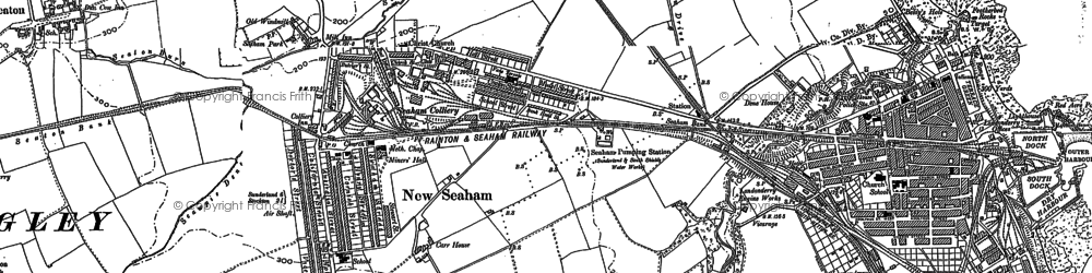 Old map of Seaham in 1914