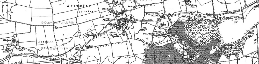 Old map of Seaton in 1908