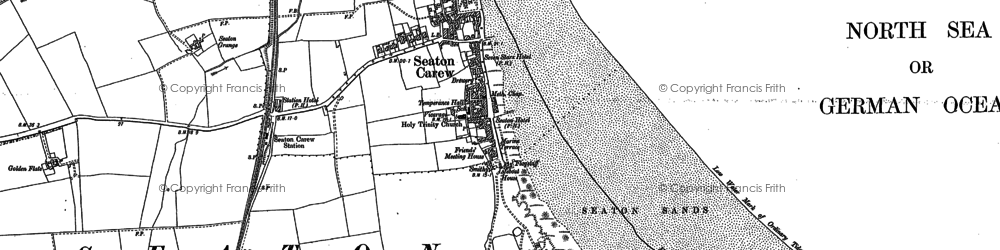 Old map of Seaton Carew in 1896