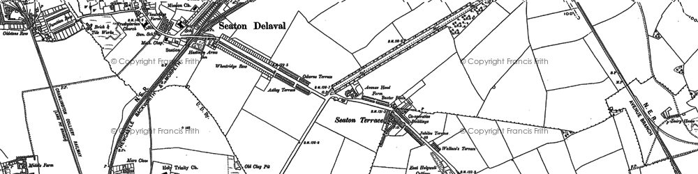 Old map of Seaton Delaval in 1896