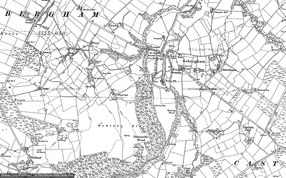 Old Map of Historic Map covering Lime Kiln Nook in 1898