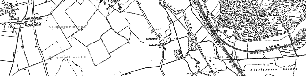 Old map of Brook End in 1882