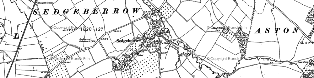 Old map of Sedgeberrow in 1883