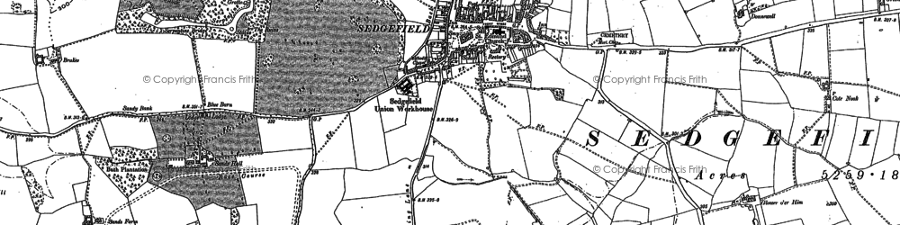 Old map of Sedgefield in 1896