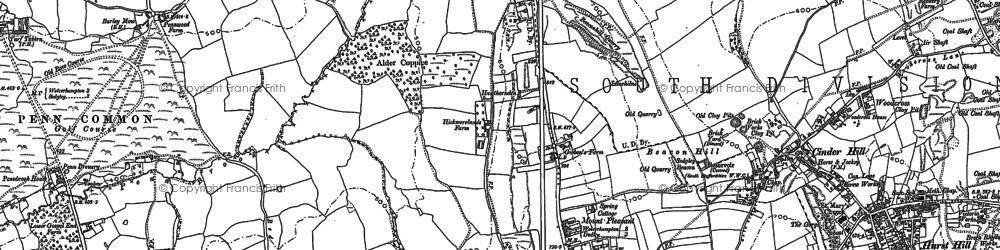 Old map of Sedgley in 1884