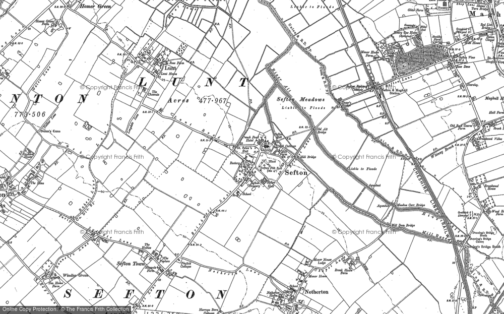 Old Map of Historic Map covering Sefton in 1892
