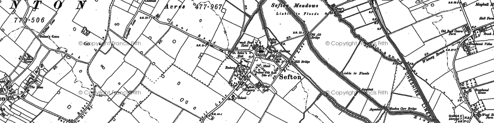 Old map of Sefton in 1892