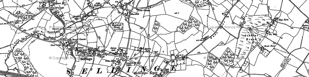 Old map of Sellindge in 1896
