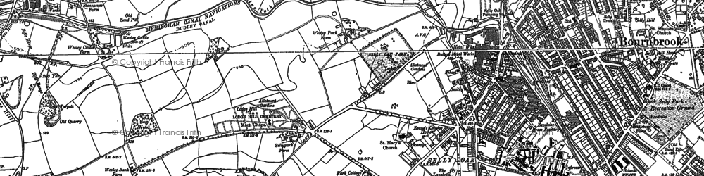 Old map of Selly Oak in 1882