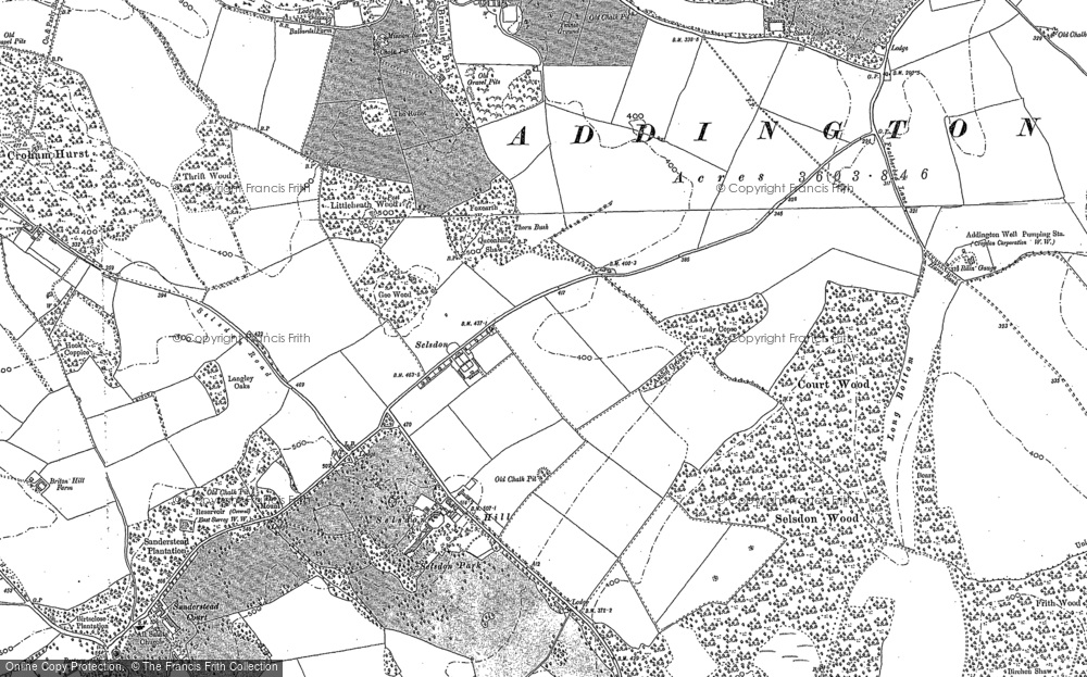 Old Map of Historic Map covering Addington Hills in 1894