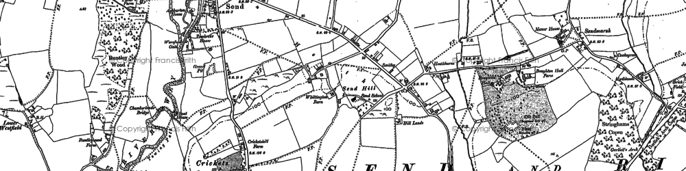 Old map of Burntcommon in 1895