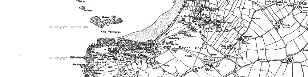 Old map of Sennen Cove in 1906