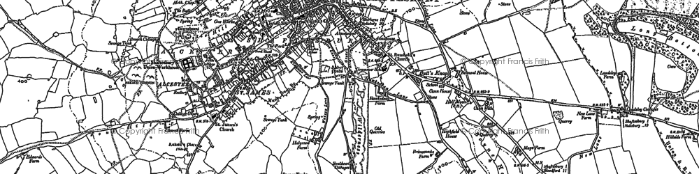 Old map of Shaftesbury in 1900