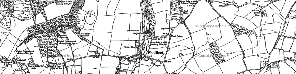 Old map of Shalfleet in 1896