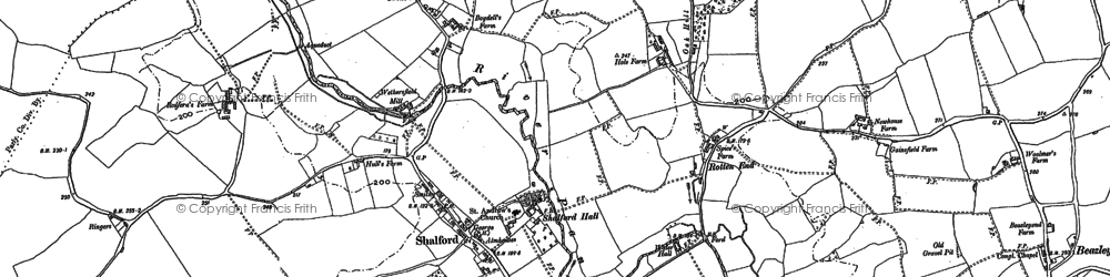 Old map of Shalford in 1896
