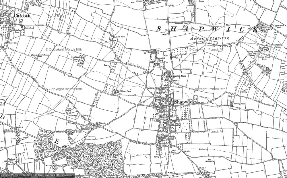 Old Map of Shapwick, 1885 in 1885