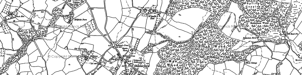 Old map of Shatterford in 1883