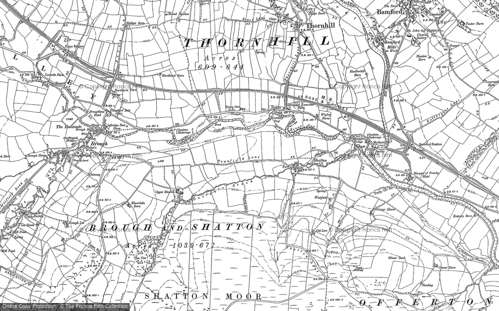 Old Map of Historic Map covering Bamford Sta in 1897