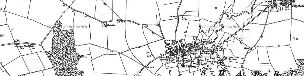 Old map of Shawbury in 1880