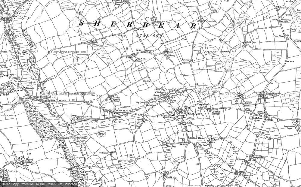 Old Map of Historic Map covering Aish in 1884
