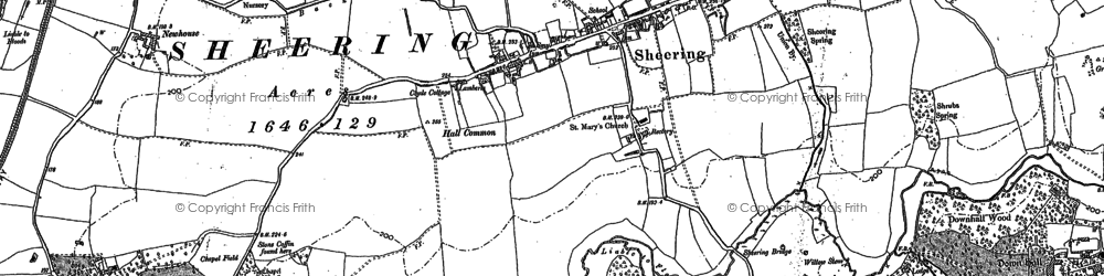 Old map of Sheering in 1895