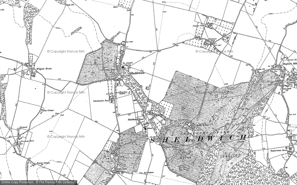 Old Map of Historic Map covering Badlesmere Court in 1896