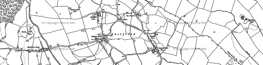 Old map of Badbury Hill in 1885