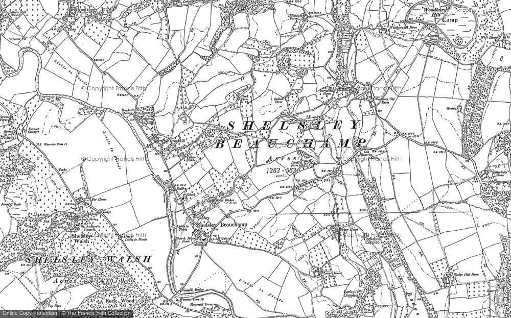 Old Map of Shelsley Beauchamp, 1883 in 1883