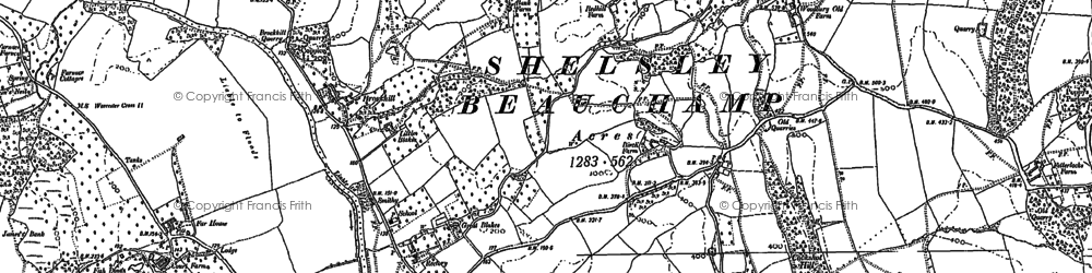 Old map of Woodbury Hill in 1883