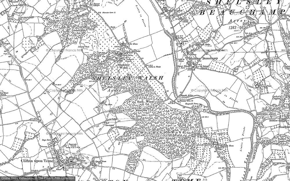 Old Map of Shelsley Walsh, 1883 in 1883