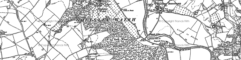 Old map of Weyman's Wood in 1883