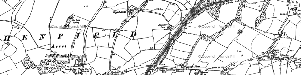 Old map of Shenfield in 1895
