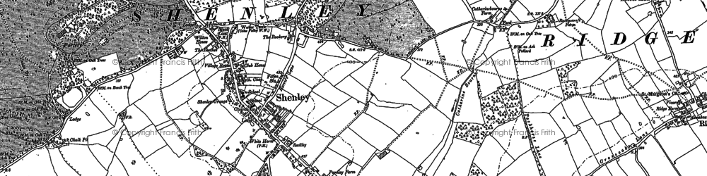 Old map of Shenley in 1895