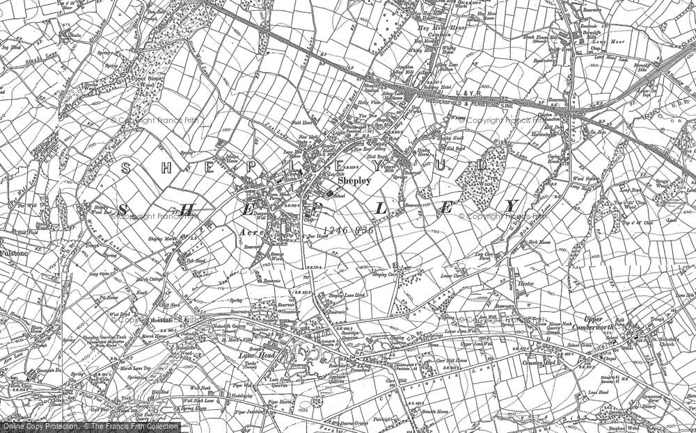 Old Map of Historic Map covering Lane Head in 1888