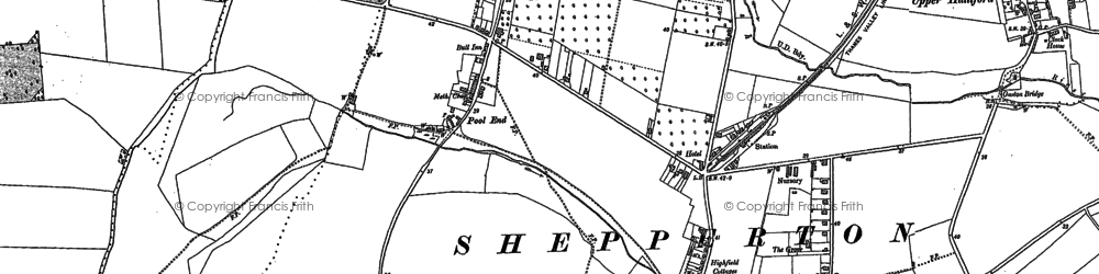 Old map of Shepperton in 1912