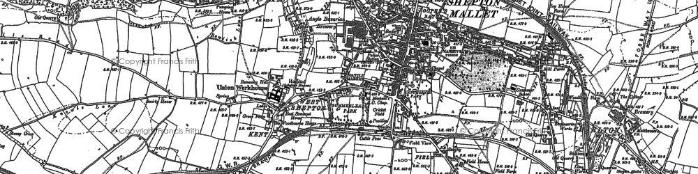 Old map of Shepton Mallet in 1885