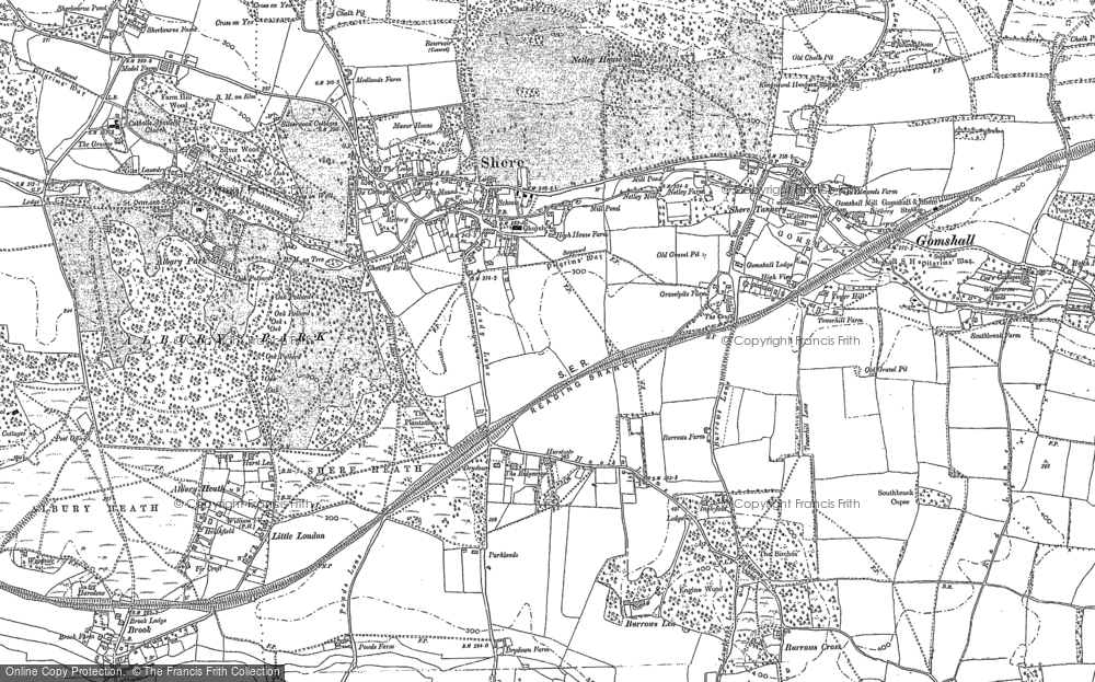 Old Map of Shere, 1895 in 1895