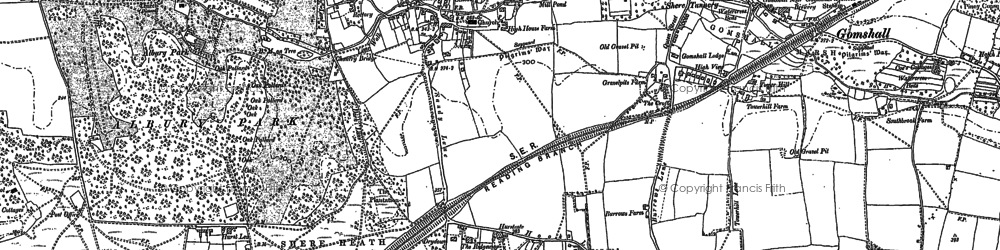 Old map of Shere in 1895