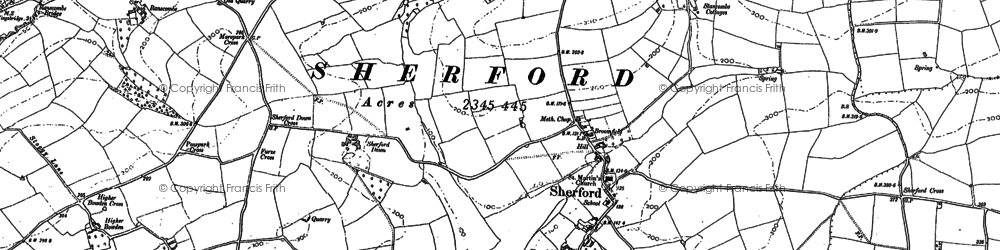Old map of Sherford in 1884