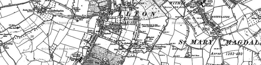 Old map of Wilton in 1887
