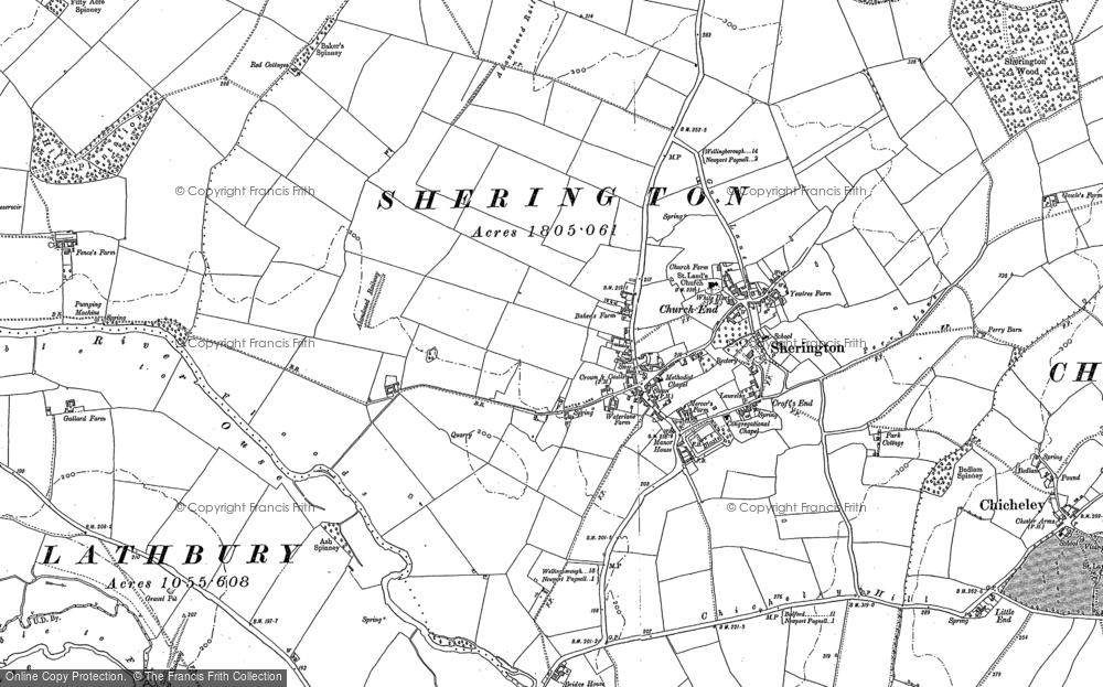 Old Map of Sherington, 1899 in 1899