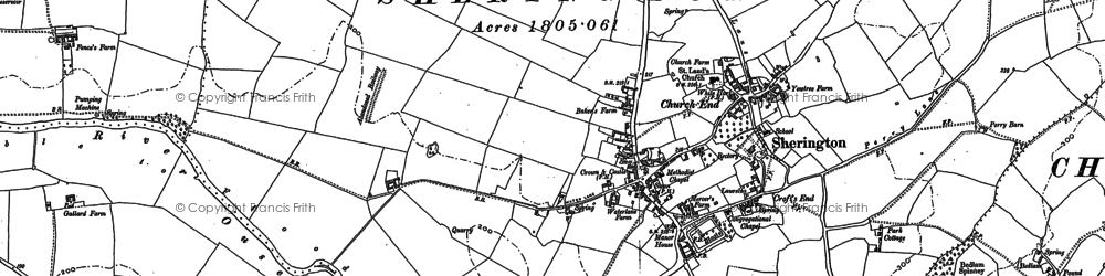 Old map of Sherington in 1899