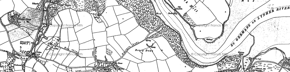 Old map of Sheviock in 1883