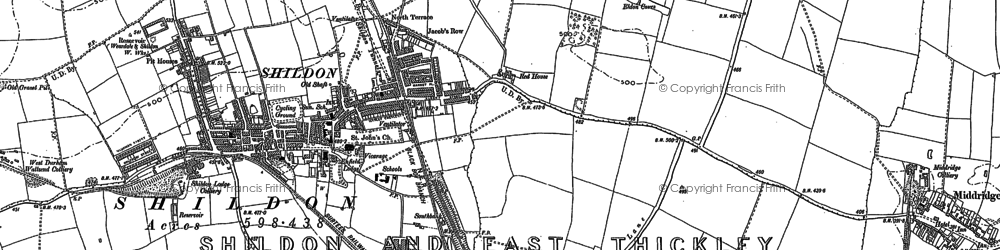 Old map of Shildon in 1896