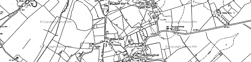 Old map of Hanscombe End in 1899