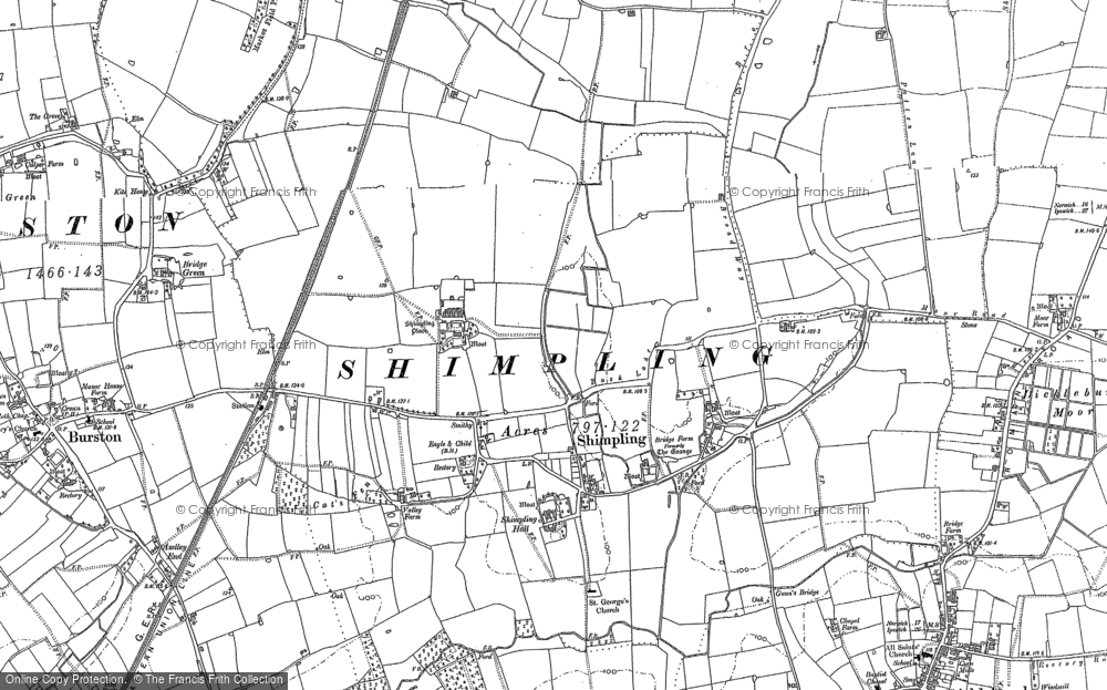 Old Map of Historic Map covering Audley End in 1883