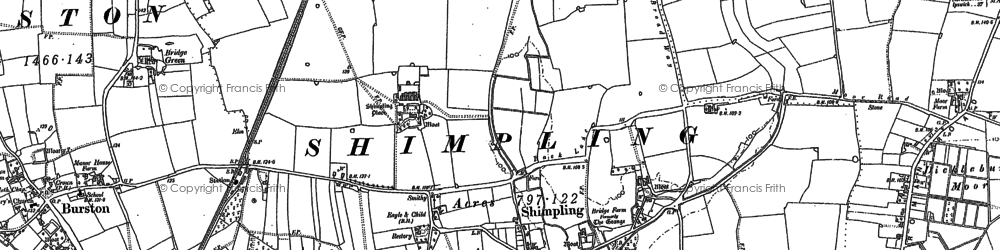 Old map of Audley End in 1883