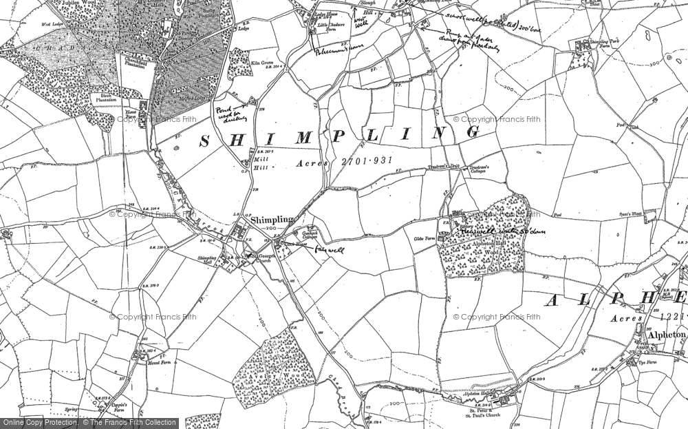 Old Map of Historic Map covering Lawshall Green in 1884